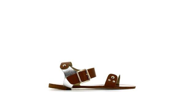 Dámské stříbrno-hnědé sandálky s cvočky Shoes and the City