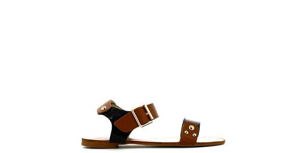 Dámské černo-hnědé sandálky s cvočky Shoes and the City