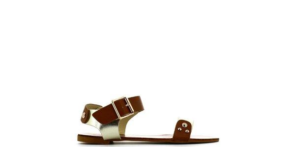 Dámské zlato-hnědé sandálky s cvočky Shoes and the City