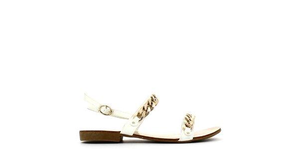 Dámské bílé sandálky se zlatým řetězem Shoes and the City