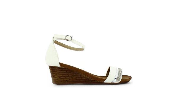 Dámské bílé sandálky na klínku s kamínky Shoes and the City