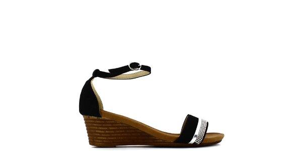 Dámské černé sandálky na klínku s kamínky Shoes and the City