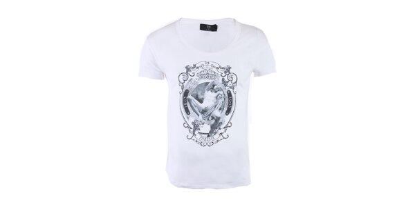 """Pánské bílé tričko Ron Abraham s černým potiskem """"Orgueil"""""""