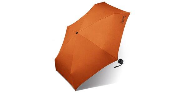 Dámský tmavě oranžový skládací deštník Esprit s černým logem