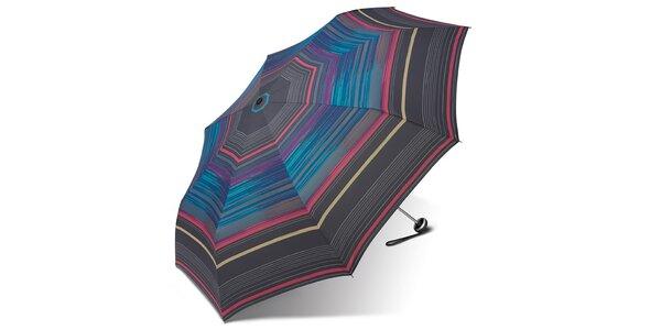 Dámský skládací deštník Esprit s pestrými proužky