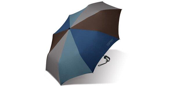 Skládací vystřelovací hnědo-modrý deštník Esprit s modrým logem