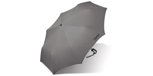 Světle šedý skládací vystřelovací deštník Esprit s černým logem