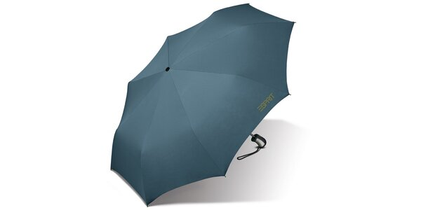 Tyrkysově modrý skládací vystřelovací deštník Esprit se zelným logem