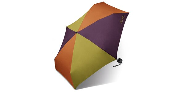 Pestrobarevný skládací deštník Esprit se zeleným logem