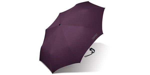 Tmavě fialový skládací vystřelovací deštník Esprit se šedým logem