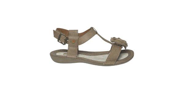 Dámské hnědé sandálky s kytičkou Buggy