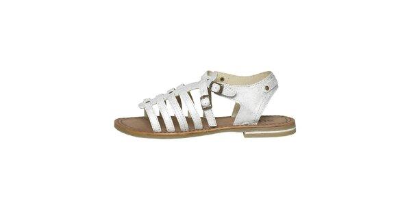 Dámské bílé metalické páskové sandálky Buggy