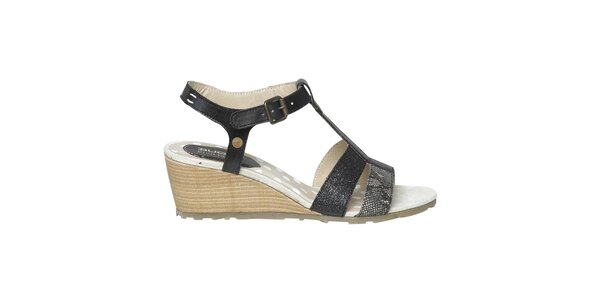 Dámské černé páskové sandálky na klínku Buggy