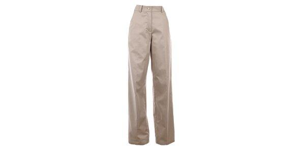 Dámské široké béžové kalhoty s puky Gene