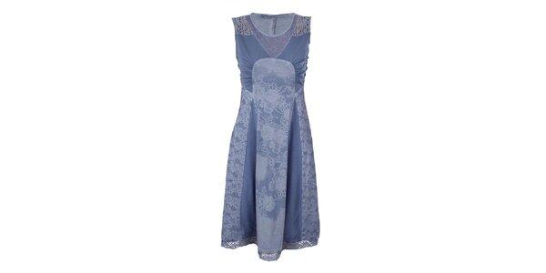 Dámské blankytně modré šaty s květinovým potiskem Angels Never Die