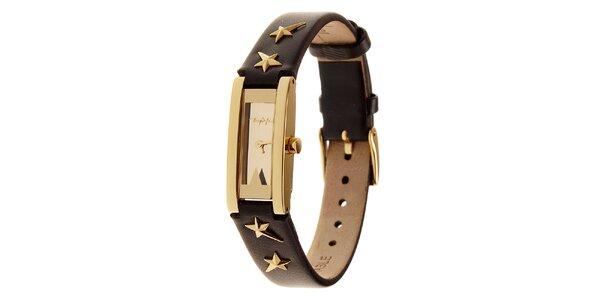 Dámské zlaté ocelové hodinky Thierry Mugler s hnědým koženým řemínkem