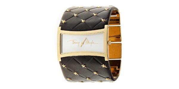 Dámské zlaté ocelové hodinky Thierry Mugler se širokým hnědým koženým řemínkem