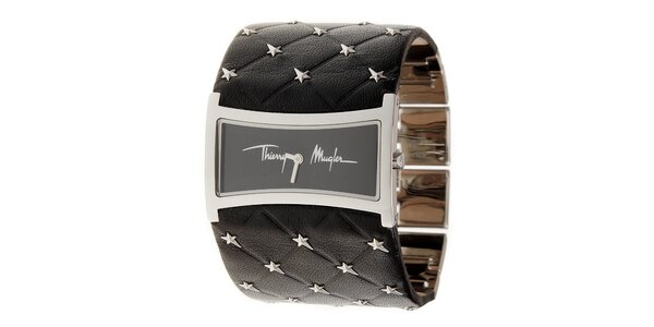 Dámské stříbrné náramkové hodinky Thierry Mugler se širokým černým koženým…