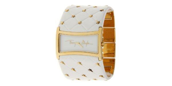 Dámské zlaté ocelové hodinky Thierry Mugler se širokým bílým koženým řemínkem