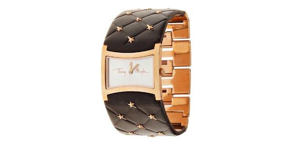 Dámské zlaté ocelové hodinky Thierry Mugler s tmavě hnědým koženým řemínkem