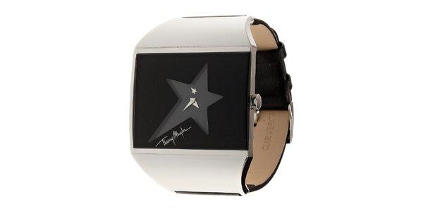 Dámské černo-stříbrné ocelové hodinky Thierry Mugler s černým koženým řemínkem
