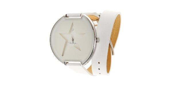 Dámské bílé náramkové hodinky Thierry Mugler s dlouhým koženým řemínkem