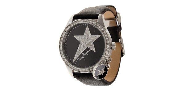 Dámské ocelové hodinky Thierry Mugler s černým koženým řemínkem a kamínky