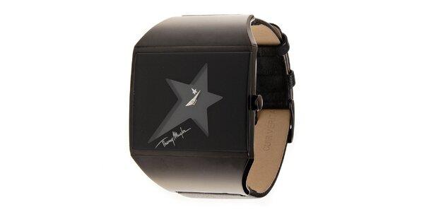 Dámské ocelové hodinky Thierry Mugler s tmavě hnědým koženým řemínkem