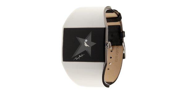 Dámské černo-stříbrné hodinky Thierry Mugler s černým koženým řemínkem