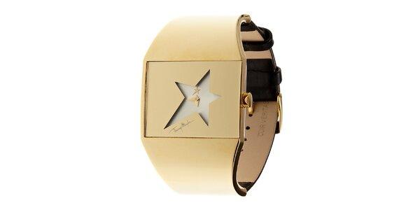 Dámské zlaté ocelové hodinky Thierry Mugler s koženým řemínkem