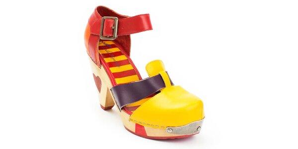 Dámské žluto-červené boty na podpatku Lola Ramona