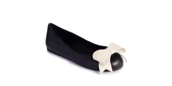 Dámské černé baleríny s bílou mašlí Lola Ramona
