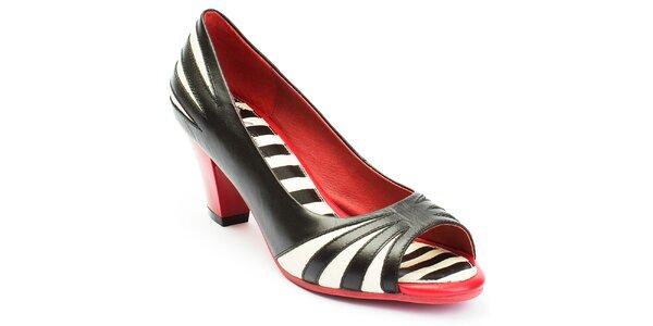 Dámské černo-bílo-červené lodičky s otevřenou špičkou Lola Ramona
