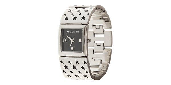 Dámské ocelové hodinky Thierry Mugler s černými hvězdičkami