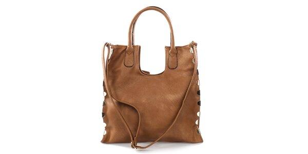 Dámská hnědá velká kabelka s kovovými detaily Bessie