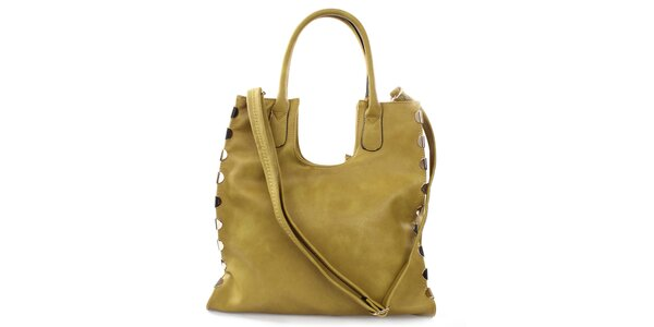 Dámská zelinkavá velká kabelka s kovovými detaily Bessie