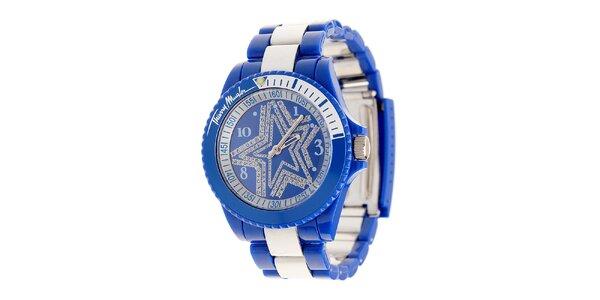 Dámské modré hodinky Thierry Mugler se stříbrnými detaily a kamínky