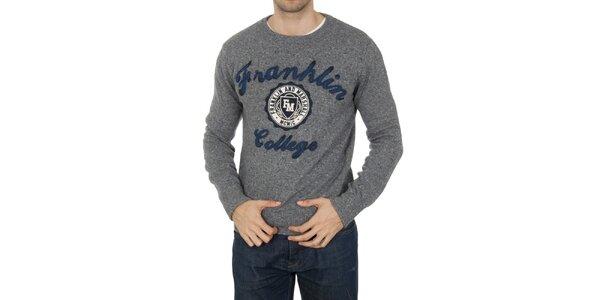 Pánský šedý svetřík s nášivkami Franklin & Marshall