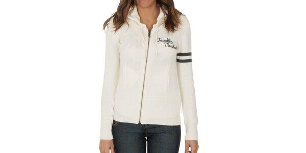 Dámský bílý svetr na zip Franklin & Marshall