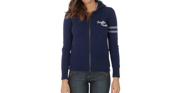 Dámský tmavě modrý svetr na zip Franklin & Marshall