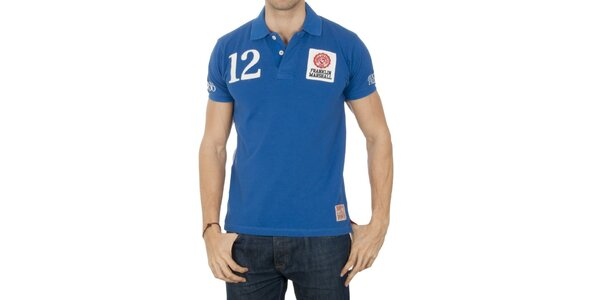 Pánské modré polo tričko s číslicí Franklin & Marshall