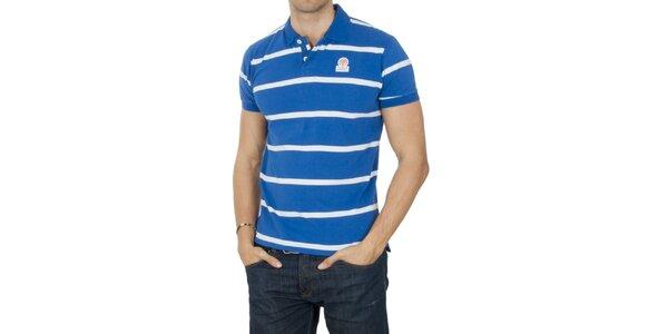 Pánské modré pruhované polo tričko Franklin & Marshall