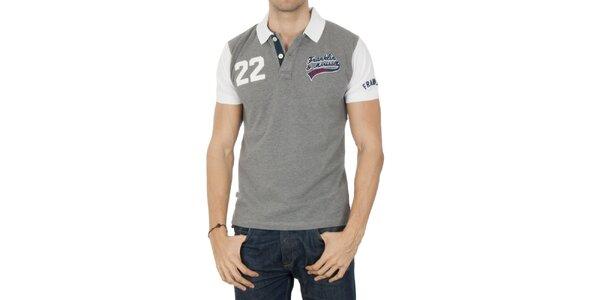 Pánské šedé polo tričko s bílými rukávy Franklin & Marshall