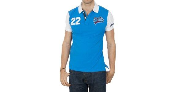 Pánské modré polo tričko s bílými rukávy Franklin & Marshall