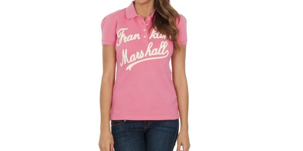 Dámské růžové polo tričko s nápisem Franklin & Marshall