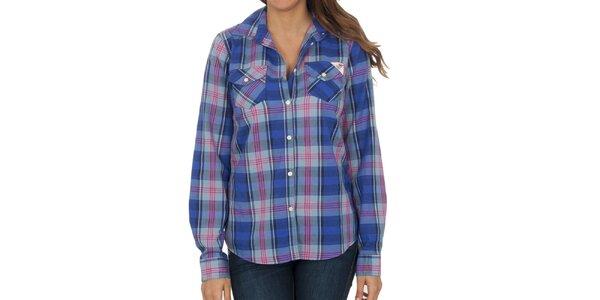 Dámská modro-růžová kostkovaná košile s dlouhým rukávem Franklin & Marshall