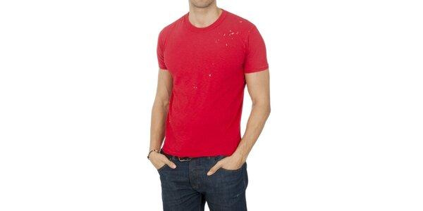 Pánské rudé tričko s cákanci Franklin & Marshall