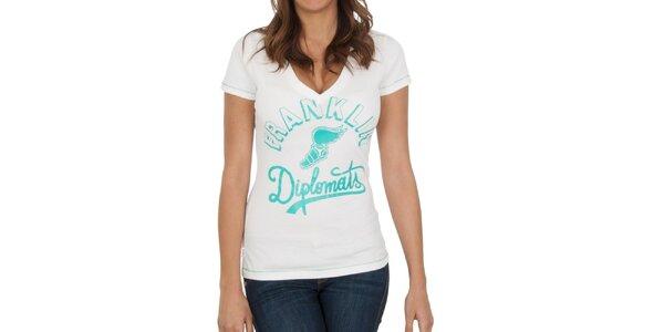 Dámské bílé tričko se zeleným potiskem Franklin & Marshall