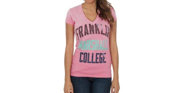Dámské růžové tričko s nápisy Franklin & Marshall