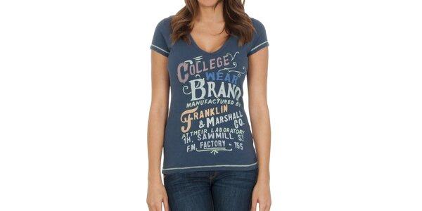 Dámské modré tričko s nápisy Franklin & Marshall
